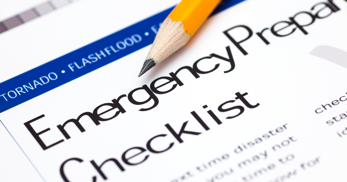 Close up of Emergency Checklist with sharpened pencil