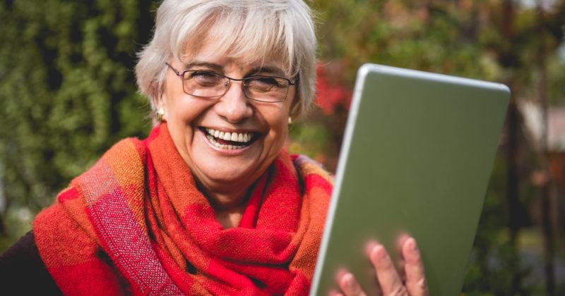 Senior woman on mobile device