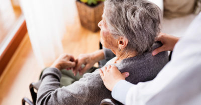 Senior receiving home care